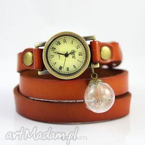 Prezent Bransoletka, zegarek - Dmuchawiec camel, skóra, zegarek, bransoletka