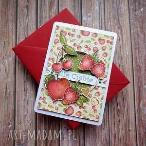 Cynamonowe kartki, soczyste lato, urodziny imieniny, owoce truskawki wiśnie