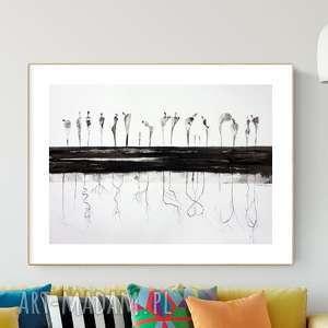 grafika 70 x 50 cm wykonana ręcznie, plakat, abstrakcja, elegancki minimalizm
