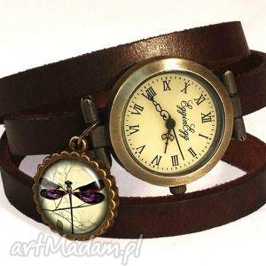 ważka - zegarek bransoletka na skórzanym pasku, skóry, vintage