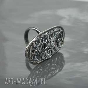 Srebrny, duży pierścionek CURLY 3, okazały, wire,