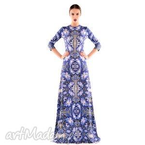 niezapominajka maxi - suknia, długa, druk, wieczorow ubrania, unikalne