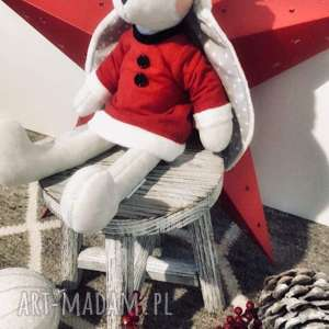 Pluszowy królik, mikołajka, króliczek przytulanka, króliś-tuliś, maskotka-handmade