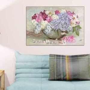 obraz na płótnie bukiet w misie 120x80, kwiaty glamour, do salonu