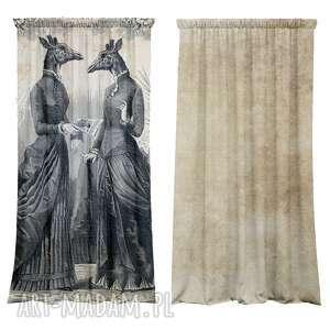 zasłony kotary bawełniane 2 szt ladies, żyrafy, fototapeta, zasłony, dekoracja
