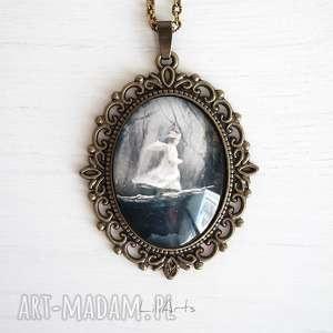 hand-made naszyjniki medalion, naszyjnik - magiczny las antyczny brąz, zdobiony