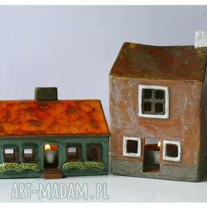 komplet 2 kamienic lampionów ze złotej uliczki, ceramika, dom, kamienica