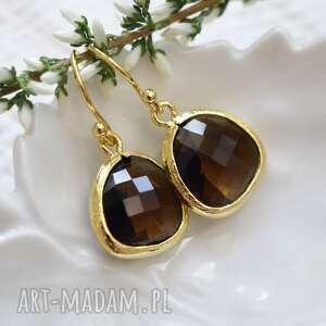 Smoky quartz drops in gold, wiszące, delikatne, subtelne, złoto, kryształek