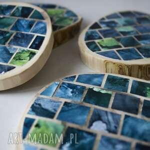 drewniane podkładki - mozaika 4 szmaragdowa, drewniane, kawa, herbata, kuchnia