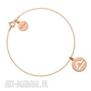 matowa bransoletka z zodiakiem wagi z różowego złota sotho