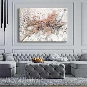 velvet white - wielkoformatowy obraz na płótnie abstrakcyjny art