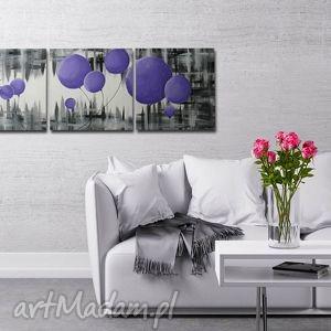 obraz dmuchawce fioletowe 3 - 120x40cm, obraz, kwiaty, fioletowe, dmuchawce