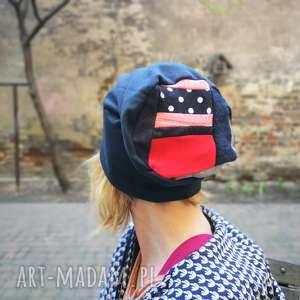 patchworkowa kolorowa damska czapka etno patchwork - czapka, rower, dzianina, etno, boho