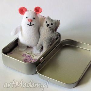 mini misie nr 11, myszka, miś, puszka, filc, zabawka, dziecko