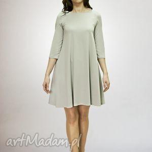 sukienki 7 - sukienka jasno szara, sukienka, sukienki, dzianina, trapez
