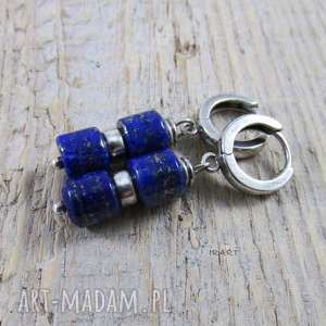 delikatne kolczyki z lapis lazuli, lapis, srebro, kolczyk