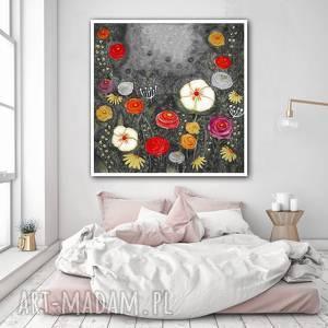 kwiaty 50x50cm, kwiaty, maki, łąka, kwiat, grafika, plakat, wyjątkowy prezent