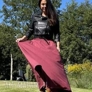 spódnice melanżowo-malinowa spódnica, maxi, dzininowa jesienna