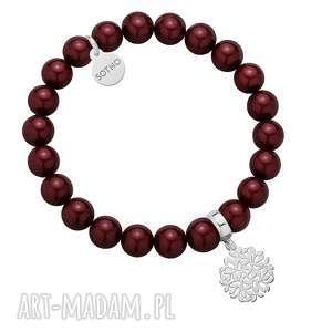 Bordowa bransoletka z pereł SWAROVSKI® CRYSTAL ze srebrną rozetką gałązek