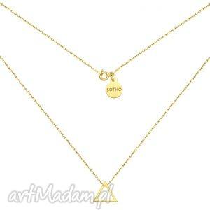 złoty naszyjnik z trójkątem, geometryczny, srebro, modny