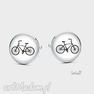 spinki do mankietów rower - koła, jednoślad, hobby, jazda, rama, prezent