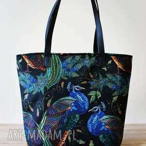oryginalny prezent, torebki niezwykle shopper bag bucket - pawie, elegancka