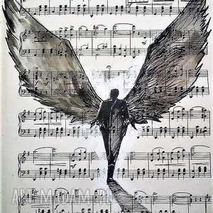 obrazy anioł jest dźwiękiem akwarela artystki adriany laube, akwarela, anioł, muzyka