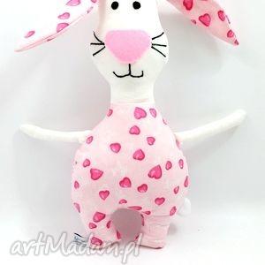 maskotki króliczek różówe serduszko, zabawka, przytulanka, maskotka, królik