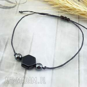 mela art 1158/- subtelna bransoletka z kamieniami - onyks, bransoletka