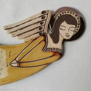 handmade dekoracje anioł ceramiczny - zlatna livada vela