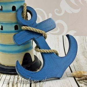 dekoracje kotwica szchabby chic - blue, kotwica, drewniana, schabby, chic