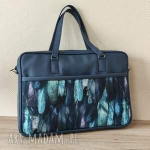 torba na laptop - granat i piórka, laptop, case, etui, prezent, święta