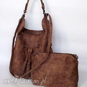 torba na ramię ściągana brązowa, torba, torebka