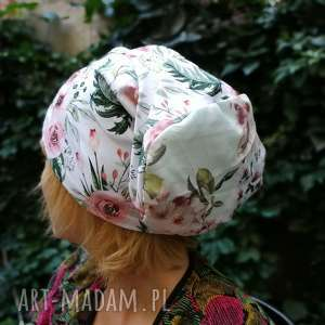 handmade czapki czapka w kwiaty damska dzianina miękka