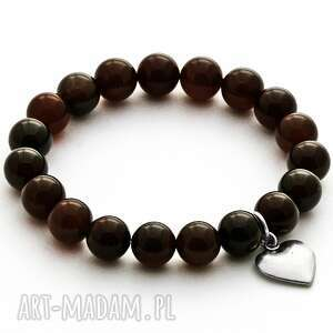 Agate with heart pendant in smokey brown. - ,agat,serce,