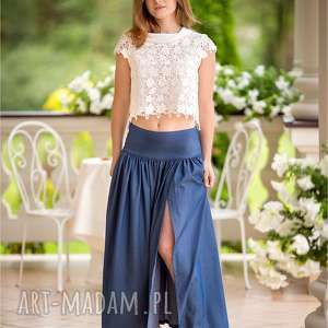 Piękna dżinsowa maxi spódnica z pęknięciem rozm od 34 do 42, cleanclothes,
