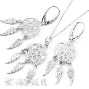 Srebrny komplet ŁAPACZ SNÓW, komplet, srebrny, łapacz, snów, boho, pióra