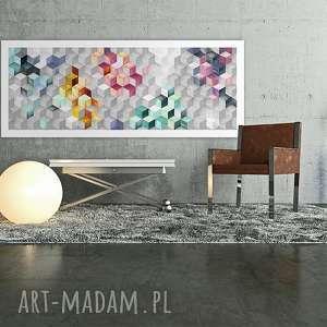 abstrakcja kwadraty 120x50 - nowoczesny obraz na płótnie 0271 wysyłka w 24