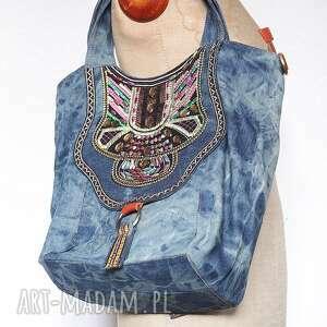 na ramię torba jeansowa haftowana etniczna, torba, jeansowa, dżinsowa, etniczna
