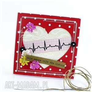 Serce EKG - kartka, serce, ekg, walentynki, miłość, koronka, kropki