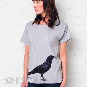 koszulki kruk oversize t-shirt, oversize, szary, tshirt, casual, bawełna, moda