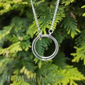 naszyjniki srebrny naszyjnik z podwójną okrągłą zawieszką, koło, surowy, srebro