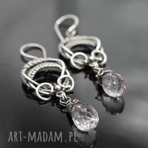 Srebrne kolczyki z kwarcem różowym AMORE, kolczyki, srebro, wire, wrpping, kwarc