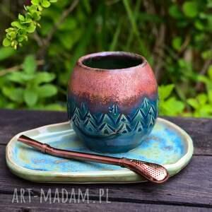 zestaw ceramiczne naczynie do yerba mate bombilla talerzyk / turkus z paprocią