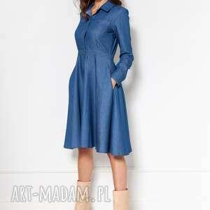 sukienki rozkloszowana jeansowa sukienka, suk130 jeans