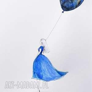 MÓJ WSZECHŚWIAT praca akwarelą i piórkiem artystki plastyka Adriany Laube, akwarela