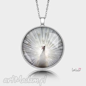 naszyjniki medalion okrągły biały paw, grafika, piękno, pióra, pawie