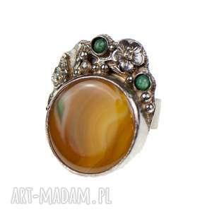 Prezent Srebrny pierścionek z okwieconym agatem a625, pierścionek-srebrny