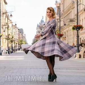 Sukienka z dzianiny podpinana oversize Powder Rose, jesień, zima,