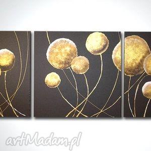 obraz ręcznie malowany dmuchawce wenge gold - 120x40, obraz, dmuchawce, złote